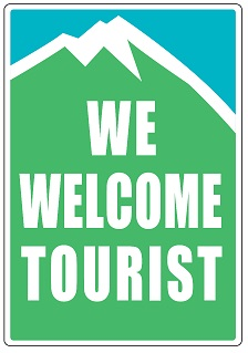WE WELCOME TOURISTのステッカー